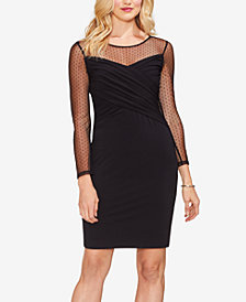 Vince Camuto Mesh-Yoke Sheath Dress, Created for Macy's