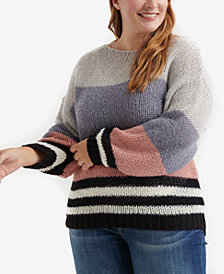 Lucky Brand Trendy Plus Size Striped Sweater