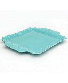 EuroCeramica Chloe Turquoise Square Platter with Handles