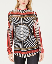 GUESS Printed Button-Front Shirt