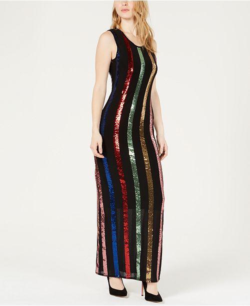 3eb297f86d0 GUESS Rainbow Sequin Maxi Dress   Reviews - Dresses - Juniors - Macy s