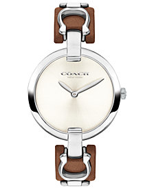 COACH Women's Chrystie Brown Leather Strap Watch 32mm