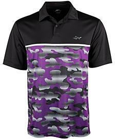 Mens Colorblocked Camo Polo