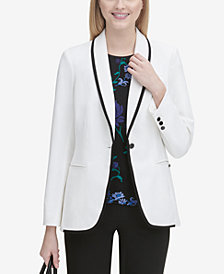 Calvin Klein Black-Piped White Jacket