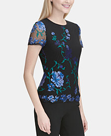 Calvin Klein Embroidered Short-Sleeve Top