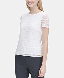 Calvin Klein Lace-Striped Short-Sleeve Top