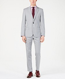 Men's Modern-Fit Light Gray Sharkskin Suit Separates