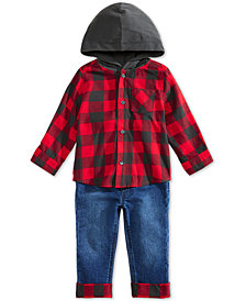 First Impressions Baby Boys Buffalo Check Hoodie & Cuffed Jeans Separates, Created for Macy's