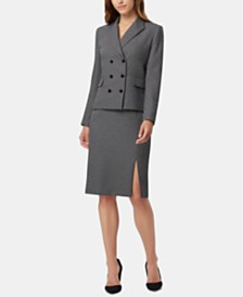 Tahari ASL Petite Textured Double-Breasted Skirt Suit