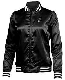 Antigua Women's San Antonio Spurs Strut Satin Bomber Jacket