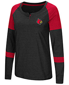 Colosseum Women's Louisville Cardinals Colorblocked Raglan Long Sleeve T-Shirt