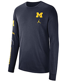 Nike Men's Michigan Wolverines Long Sleeve Basketball T-Shirt