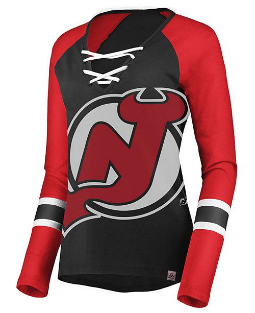 ... Majestic Women s New Jersey Devils Lace Up Long Sleeve T-Shirt ... fa4e43af9