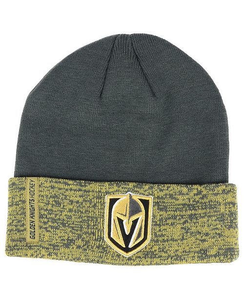 555523a8b0d Authentic NHL Headwear Vegas Golden Knights Pro Rinkside Cuffed Knit Hat ...