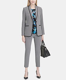Calvin Klein One-Button Blazer, Floral-Print Top & Ankle Pants