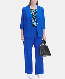 Calvin Klein Plus Size 3/4-Sleeve Jacket & Straight-Leg Pants