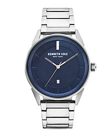 Kenneth Cole New York Men's KAM Stripe Silver Bracelet Watch 42mm