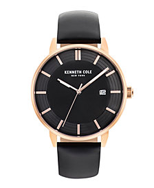Kenneth Cole New York Men's Black Leather Strap Watch 44mm