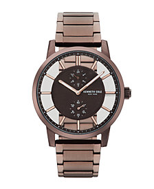 Kenneth Cole New York Men's Transparent Multifunction Brown Metal Bracelet Watch 44mm