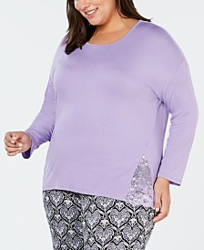 I.N.C. Plus Size Lace-Trimmed Knit Pajama Top, Created for Macy's