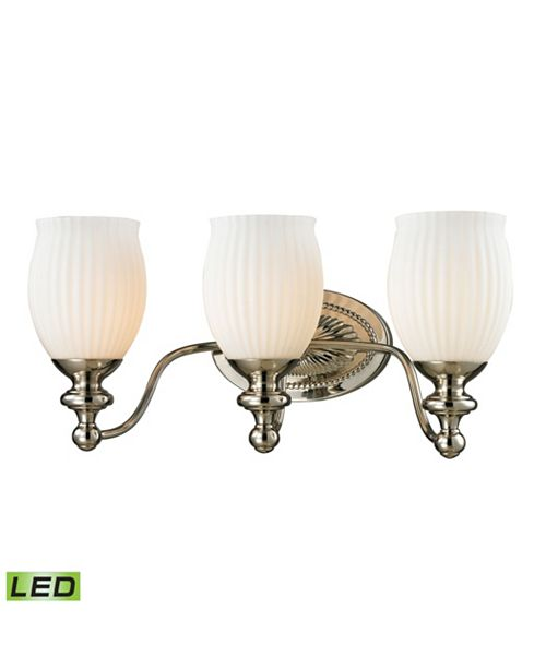 ELK Lighting Park Ridge Collection 3 light bath in Polished Nickel - LED, 800 Lumens (2400 Lumens Total) with Ful