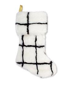 Faux Fur Stocking Black Check
