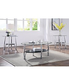 Seetle Contemporary 3-Piece Glass Table Set