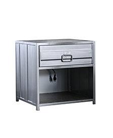 Hazier Industrial Metal 1-Drawer Nightstand