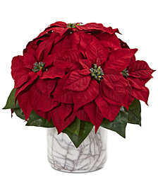 Nearly Natural Poinsettia Artificial Arrangement in Faux Marble Vase