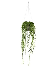 Nearly Natural String of Pearl Artificial Plant Hanging Basket