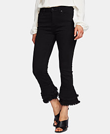 1.STATE Ruffle-Hem Cropped Skinny Jeans