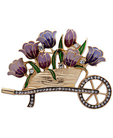Anne Klein Gold-Tone Crystal Flower Cart Pin, Created for Macy's