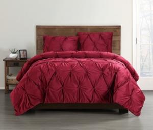 Truly Soft Everyday Pleated Velvet Full/Queen Comforter Set Bedding