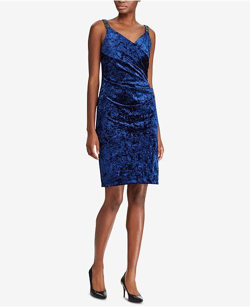 c8d7bfa4a3 Lauren Ralph Lauren Sequin-Trim Velvet Dress   Reviews - Dresses ...