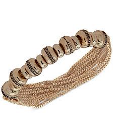 Anne Klein Gold-Tone Textured Rondelle Bead Multi-Chain Stretch Bracelet