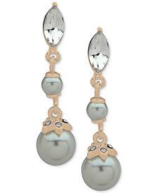 Anne Klein Gold-Tone Crystal & Imitation Pearl Linear Drop Earrings