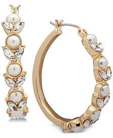 Anne Klein Gold-Tone Crystal & Imitation Pearl Hoop Earrings