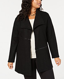Anne Klein Plus Size Zip-Trim Open-Front Jacket