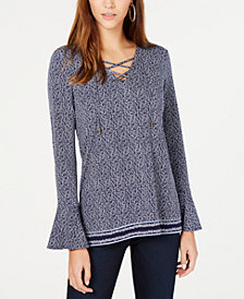MICHAEL Michael Kors Printed Bell-Sleeve Top