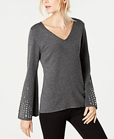 I.N.C. Petite Embellished Bell-Sleeve Top, Created for Macy's