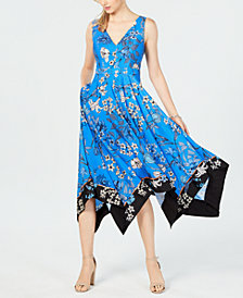 Vince Camuto Floral Handkerchief-Hem Dress