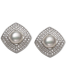 Cultured Freshwater Pearl (6mm) & Cubic Zirconia Square Stud Earrings in Sterling Silver