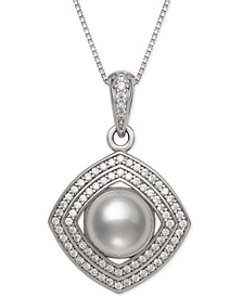 "Cultured Freshwater Pearl (8mm) & Cubic Zirconia 18"" Pendant Necklace in Sterling Silver"