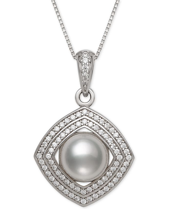 """Belle de Mer - Cultured Freshwater Pearl (8mm) & Cubic Zirconia 18"""" Pendant Necklace in Sterling Silver"""