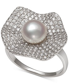 Cultured Freshwater Pearl (7mm) & Cubic Zirconia Statement Ring in Sterling Silver