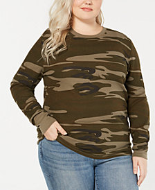 Love Tribe Trendy Plus Size Camo-Print Thermal T-Shirt
