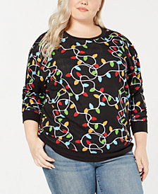Love Tribe Trendy Plus Size Lights-Print Sweatshirt