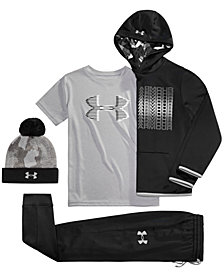 Under Armour Big Boys Pom-Pom Hat, Logo-Print Hoodie, Logo-Print T-Shirt & Jogger Pants