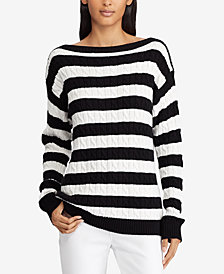 Lauren Ralph Lauren Striped Cable-Knit Cotton Sweater