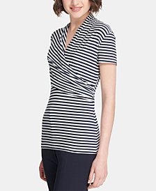DKNY Short-Sleeve Side-Ruched Stripe Top, Created for Macy's